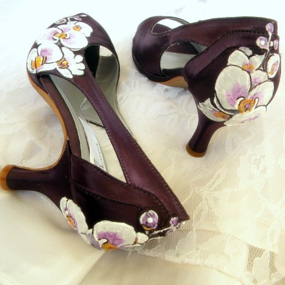 Wedding Shoes painted Orchids victorian aubergine peep toe platforms