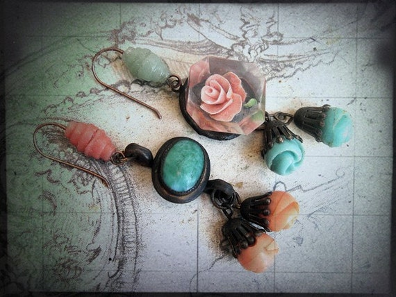 A Market of Fleas. Asymmetrical Coral and Turquoise Earrings.