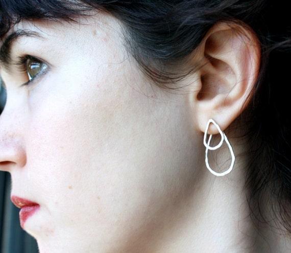Double Rain Drop Earrings in Sterling Silver