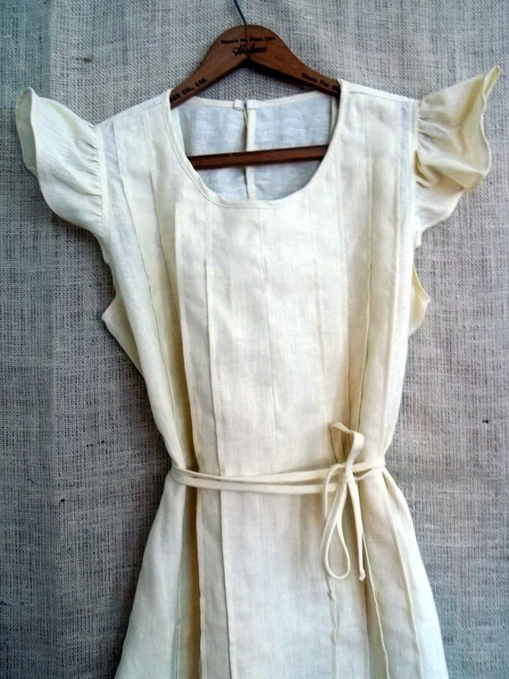 Country Fried French Quarter Boho Style Ruffle Dress or Pinafore in Cream Linen from down de bayou fits all s m l xl plus