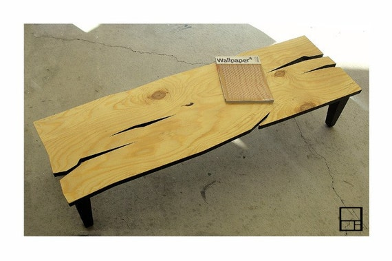 MSTRF / AD Rustic - 60 x 18 Abstract Modern Rustic Low CONSOLE/Bench with Natural Finish - Solid Poplar Tapered Legs