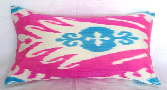 27x14 inches Uzbek Ikat Extended pillow cover - fully handmade item