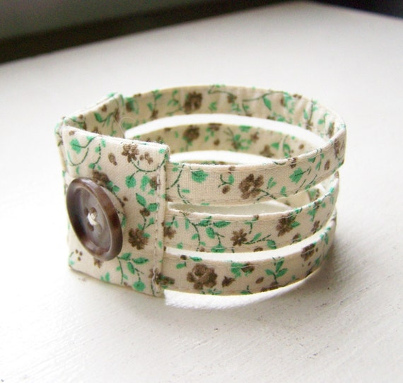 Triple strand dainty cuff bracelet in mint chocolate floral READY TO SHIP