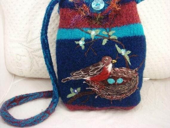 Robin bird in a nest blue, rust felted purse