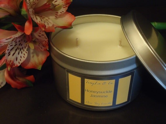 Honeysuckle Jasmine Pure SOY 8 oz Travel Tin. Sweet Floral Fragrance.