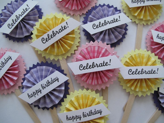Birthday rosette cupcake toppers