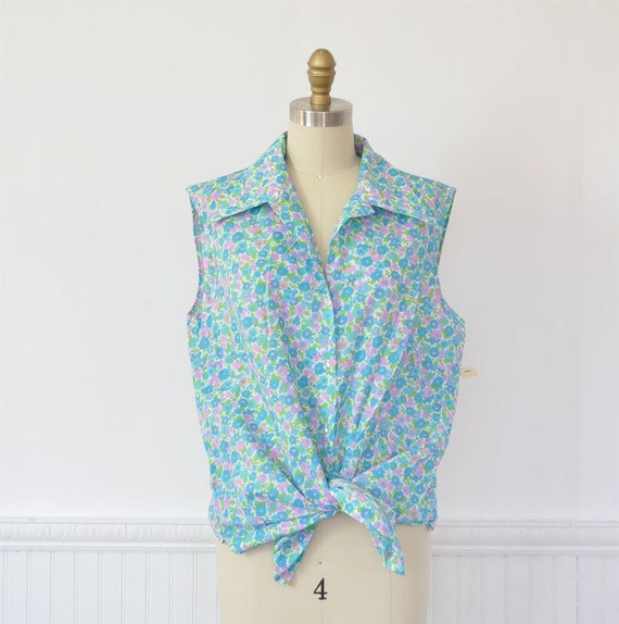 Vintage Sweet Floral Plus Size Sleeveless Blouse by MariesVintage from etsy.com