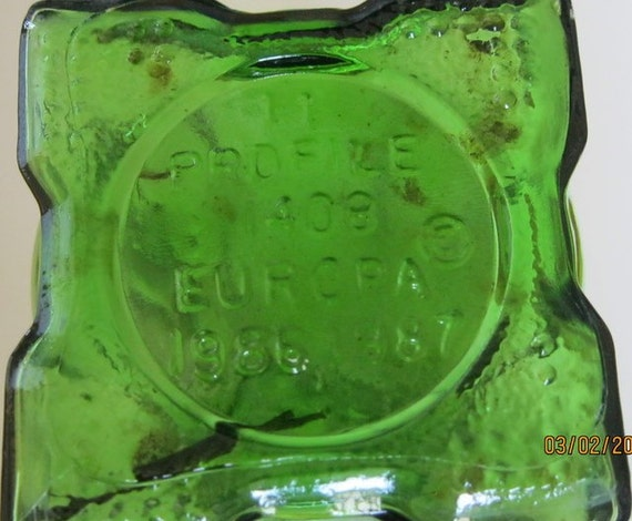Vintage Europa Green Glass Square Vase Profile 1408