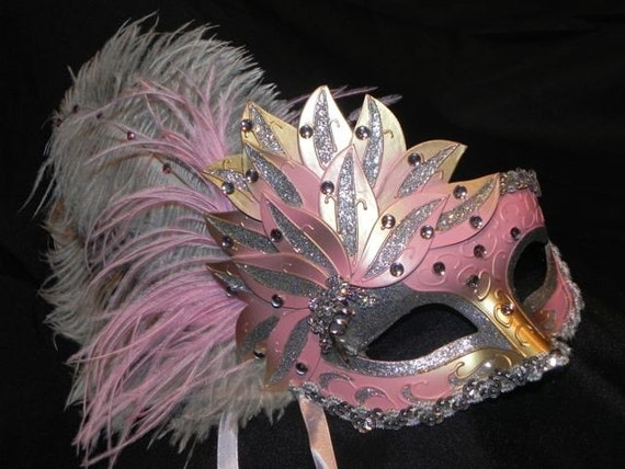 Pink Showgirl Feather Masquerade Mask