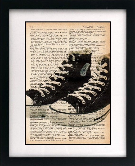 vintage dictionary art print - old school hightop sneakers vectorized illustration all-stars 8x10 - FREE shipping worldwide