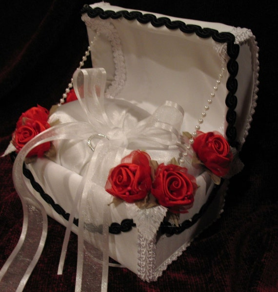 White Satin and RED and BLACK Ring Bearer Chest