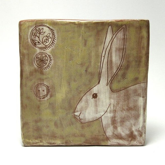 Wall Tile with Rabbit Drawing- OOAK