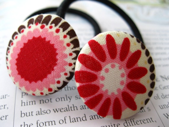 Button Ponies- Set of Two- Funky Daisies and Print in Red and Pink