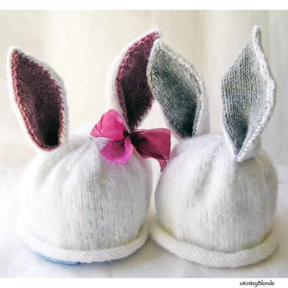 Hand Knit Bunny Baby Rabbit Hat, Custom Size, Girl or Boy  Easter Peter CottonTail