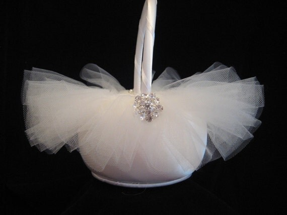 Ivory Tulle and Satin Flower Girl Basket