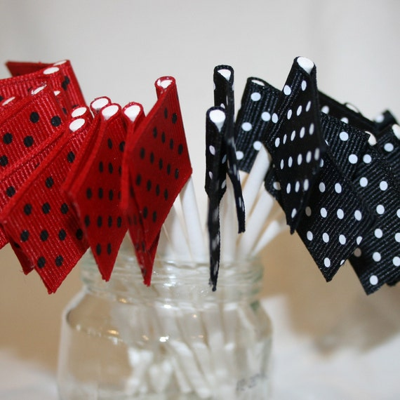 24 Mini Ribbon Flag Cupcake Toppers in Black and Red Swiss Dots (ready to ship)
