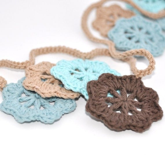 Garland - Bunting - Robin's Egg Blue - Crochet - Home Decor - Party Decor - Nursery Accent