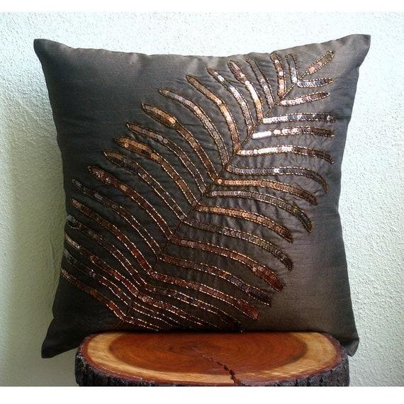 Браун Leaf - Бросьте наволочки - 18х18 дюймов Шелковый Чехол с вышивкой пайетками