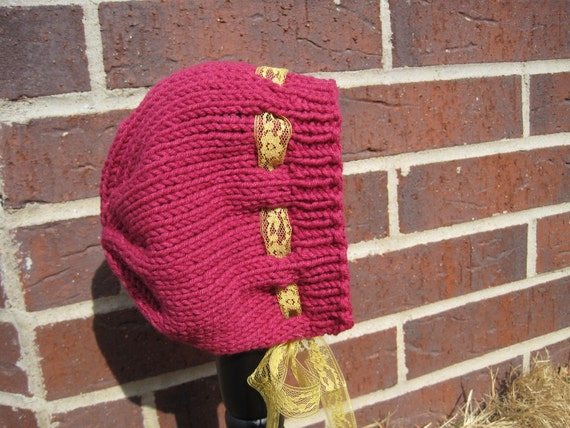 Bright Deep Pink Cotton Blend Baby Bonnet with Mustard Yellow Lace