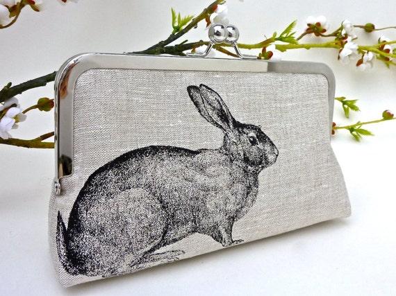 NEW- Linen Enchanted Rabbit Clutch