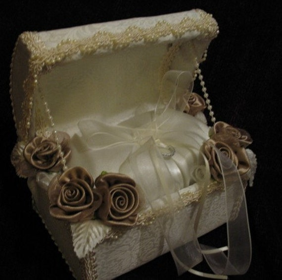 Ivory Brocade Satin and Cafe Colored Flowers Ring Bearer Chest