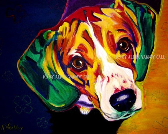 Colorful Pet Portrait Beagle Dog Art Print 8x10 by Alicia VanNoy Call