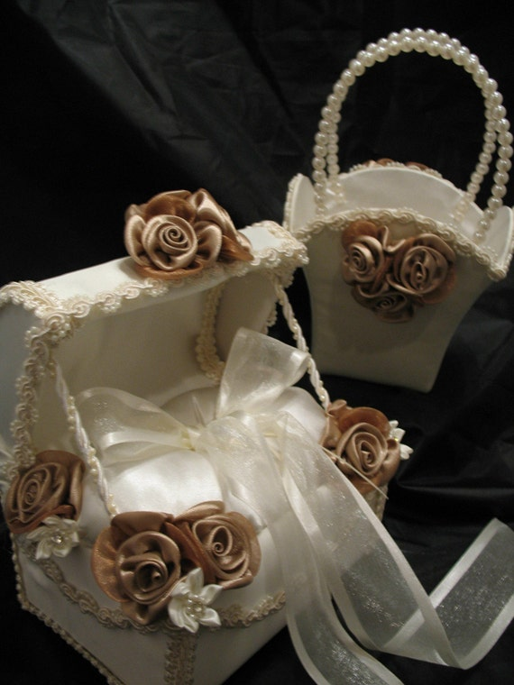 IVORY  Satin Ring Bearer Chest with Matching Flower Girl Basket  with TAN