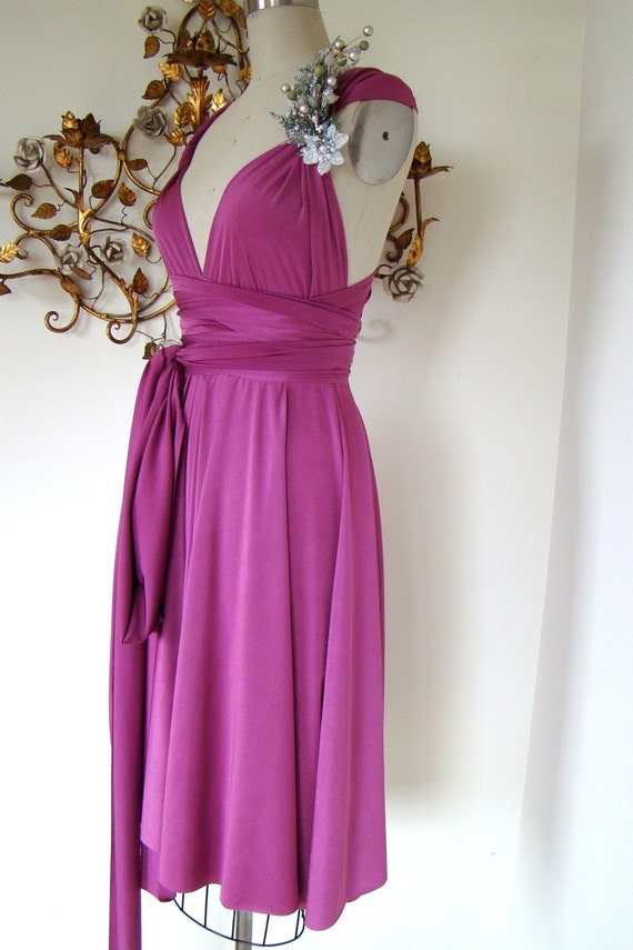 Brazilian Satin Violet Convertible Wrap Dress