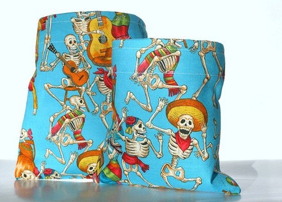 Reusable Sandwich and Snack Bag Set - Mexican Day Of The Dead On Blue - Eco Friendly Cotton Lunch Bags - Food Storage