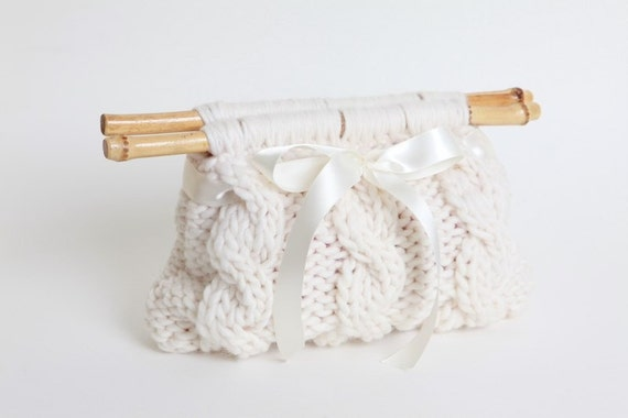 So Sweet Bamboo Cable Clutch - White