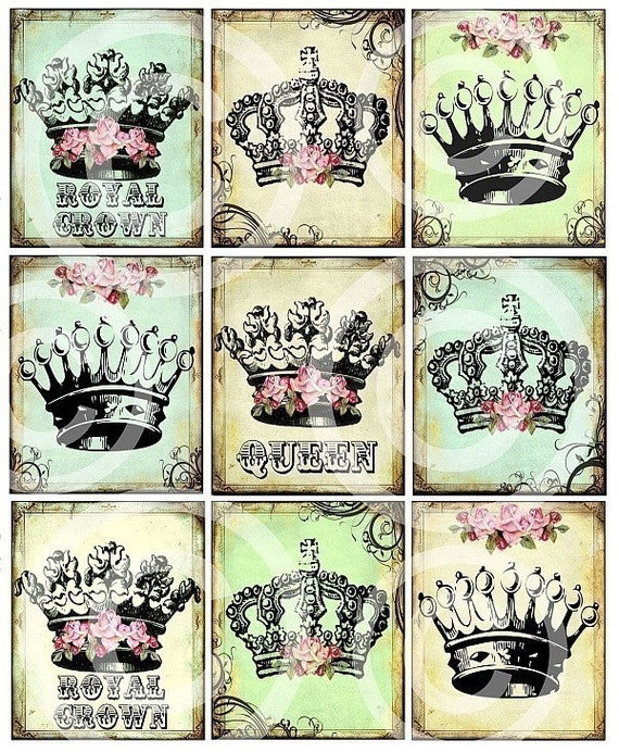 ReGaL SeT of 9 RoYaL Queen Princess CRoWNs printable art original designs DIGITAL CoLLaGe SHeeT U-PRINT download vintage images handmade greeting cards party garland banner bunting fabric image transfer altered art paper craft supplies
