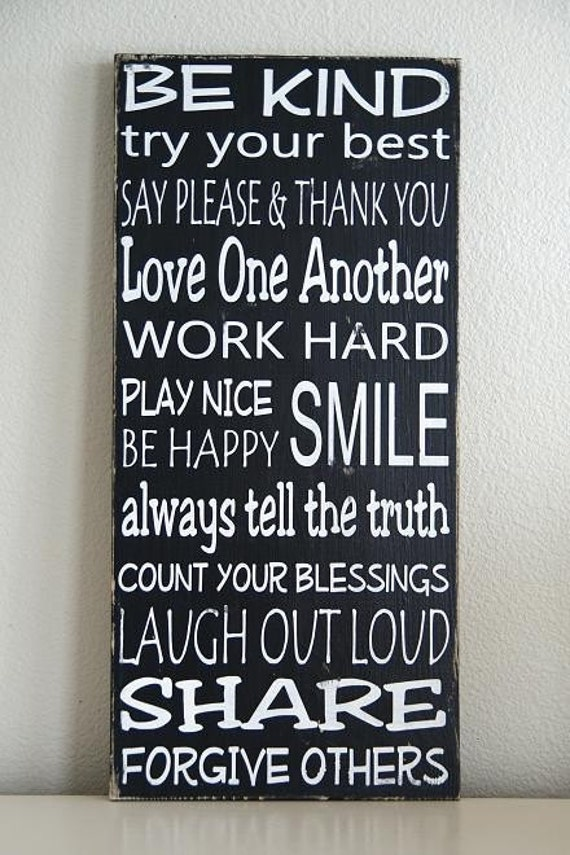 NEW Family Rules Sign- Typography Art- Solid Wood- Black and White