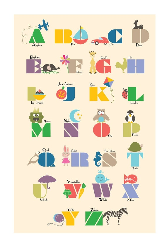 Illustrated Alphabet Wall print 8.5 x11