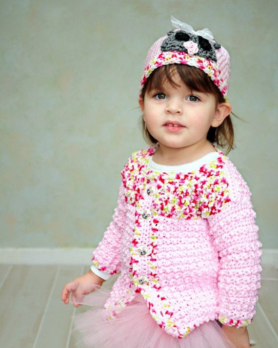 Valentine Pink and Green 24M baby sweater with Mousie hat