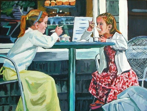 Girls At Ice Cream Parlor Original Fine Art Painting Gwen Meyerson