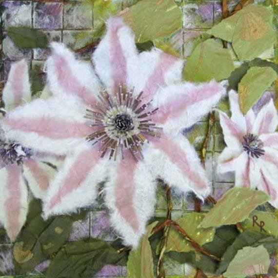 White and Pink Clematis Mixed Media Painting - FREE SHIPPING