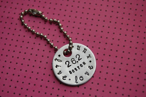 personalized live love run 26.2 hand stamped keychain