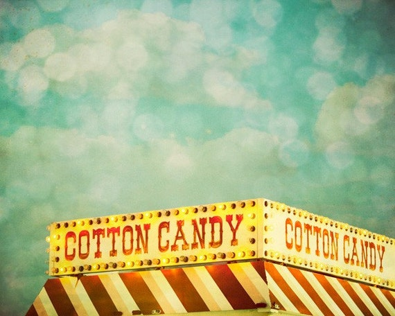 CIJ SALE 30% OFF Cotton Candy. Carnival Food Sign 8x10 Fine Art Photography Print by Tricia McKellar. No. 2845