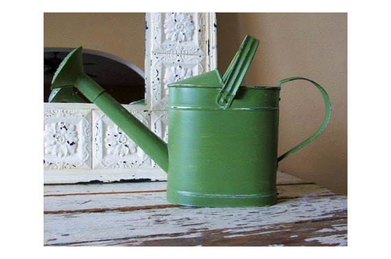 Moss Green Tin Watering Can - 10% off - garden - cottage - Mother's Day