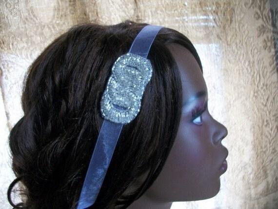 Glam Beaded Silver Ribbon Headband