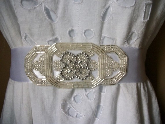 Beautiful Vintage Inspired White and Silver Beaded Bridal Sash