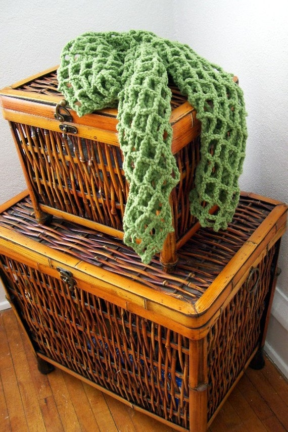 Crocheted Spring Scarf - Tea Leaf
