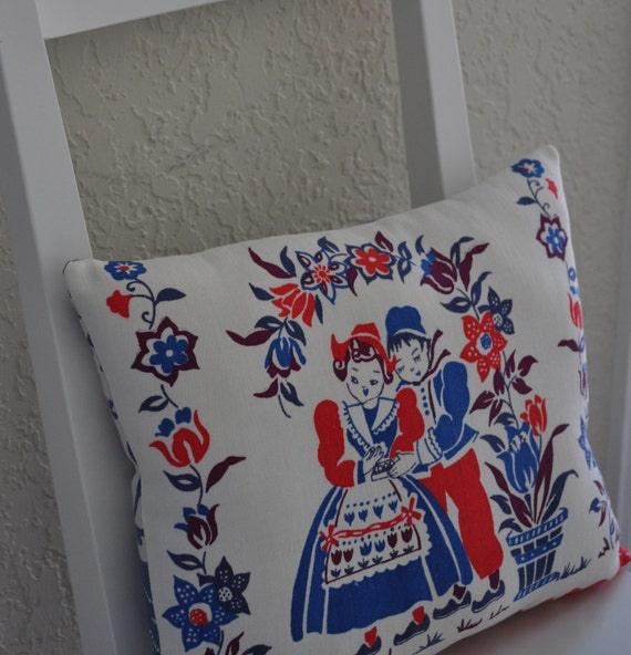 Vintage Dutch Boy and Girl Pillow