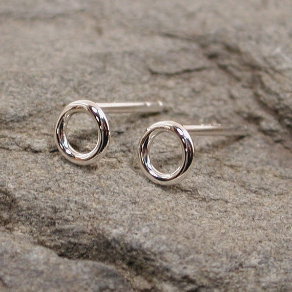Tiny circle hoop earrings sterling silver studs by sarantos from etsy.com