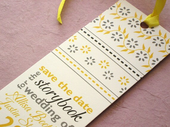Bookmark Save the Date - Indian Block Print with Rounded Corners