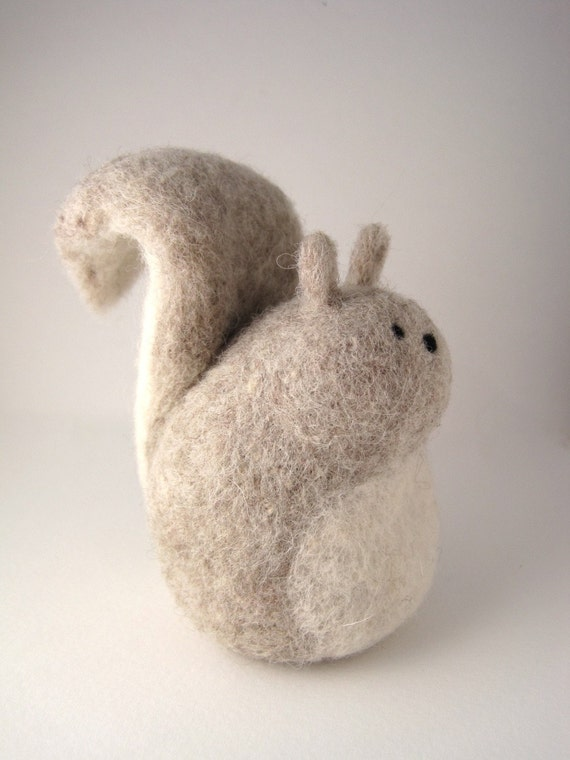 Grey Squirrel Needle Felted Wool Sculpture