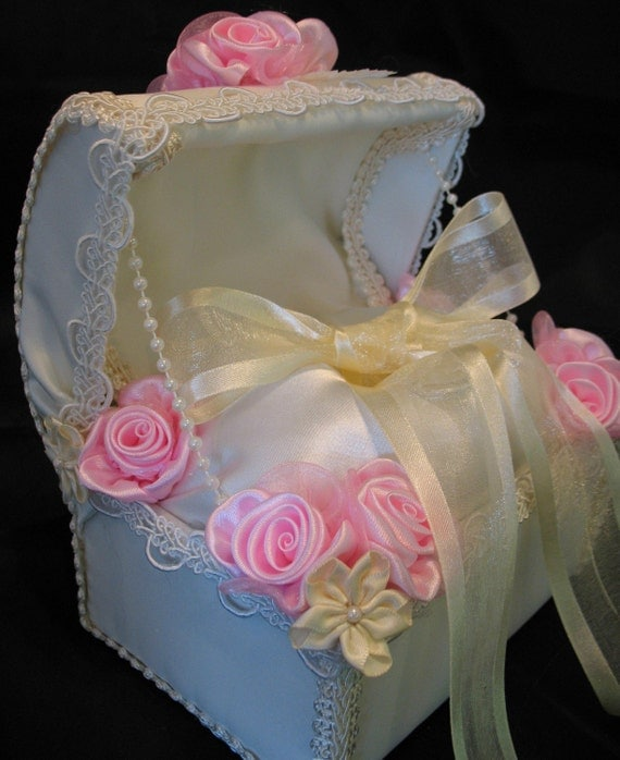 Ivory Satin and Pink Ring Bearer Chest