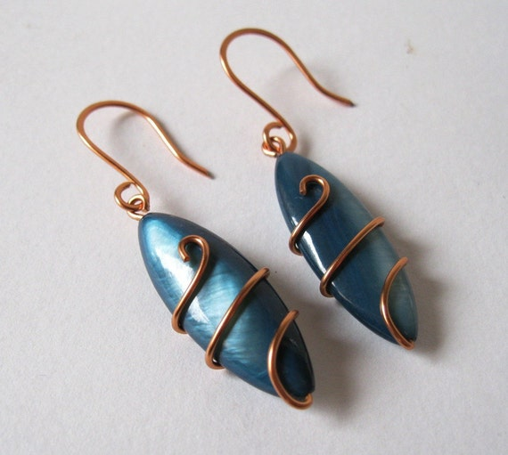 Copper Wire Wrapped Blue River Shell Oval Pair of Earrings