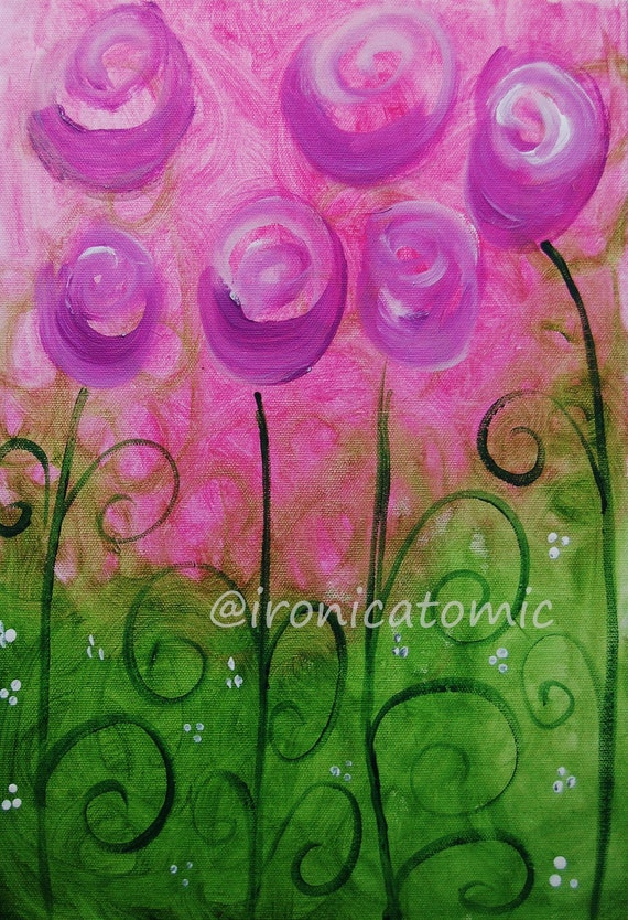 Original Art Print - Purple Flowrers for Katya
