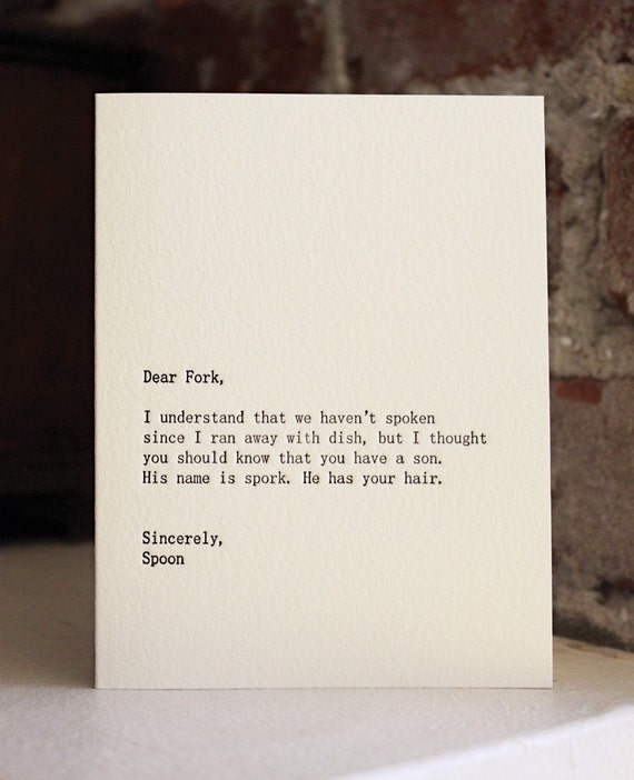 dear fork, letterpress card